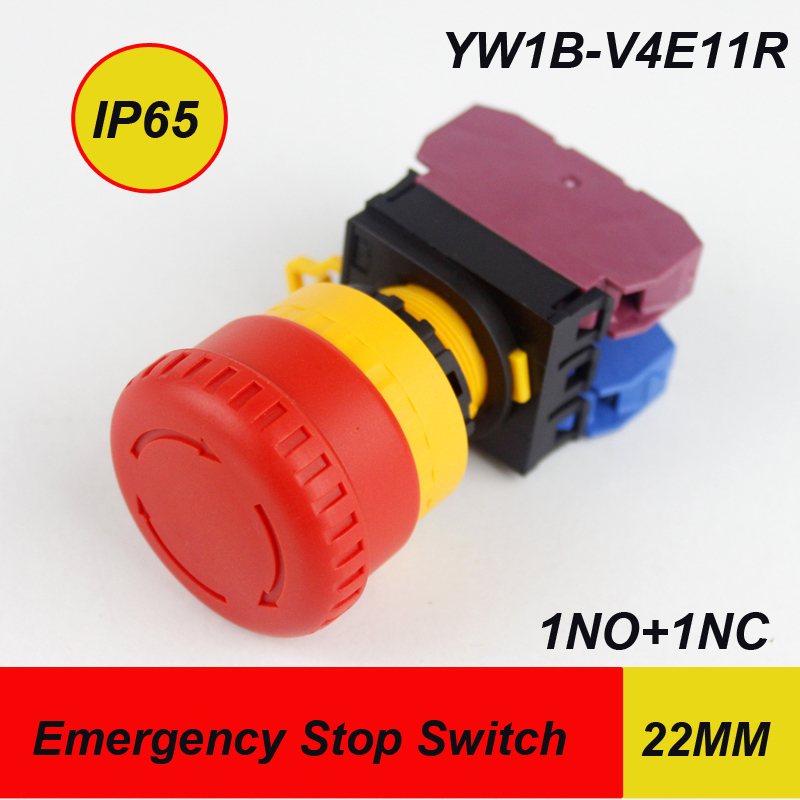Haboo HQ22mm e-stop push button switch 10pcs/lot mushroom head 1NO+1NC 600V emergency stop switch