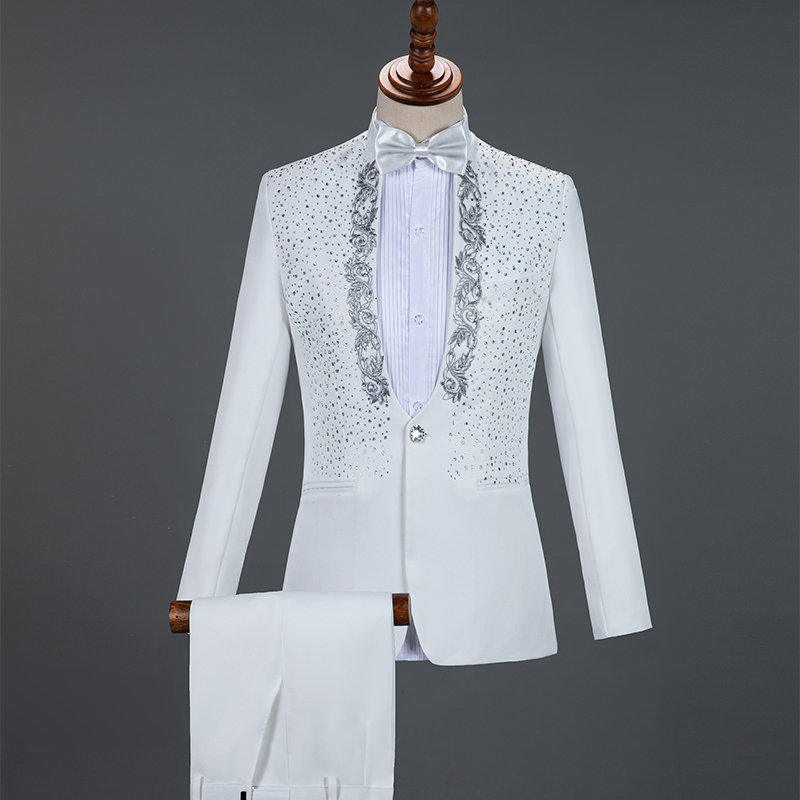 Red Sparkly Crystals Embroidery Blazers Suit Wedding Groom White Suits Stage Chorus Men Dresses Singer Host 2-Piece Set Costume