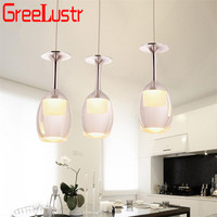 Home Deco Wine Glass Led Pendant lamps Loft Chandeliers Hanging lamp for Bar Kitchen Indoor Light Lustre Industrial Lighting