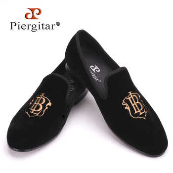 Piergitar new style fashion men loafers with LB letters gold embroidery handmade men velvet shoes party and wedding men's flat - DISCOUNT ITEM  0% OFF All Category