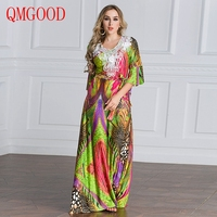 QMGOOD Party Elegant Woman Large size Long Dresses Summer Lady Clothing stitching Lace Tunic Half Sleeve Maxi Floral Dress 7XL