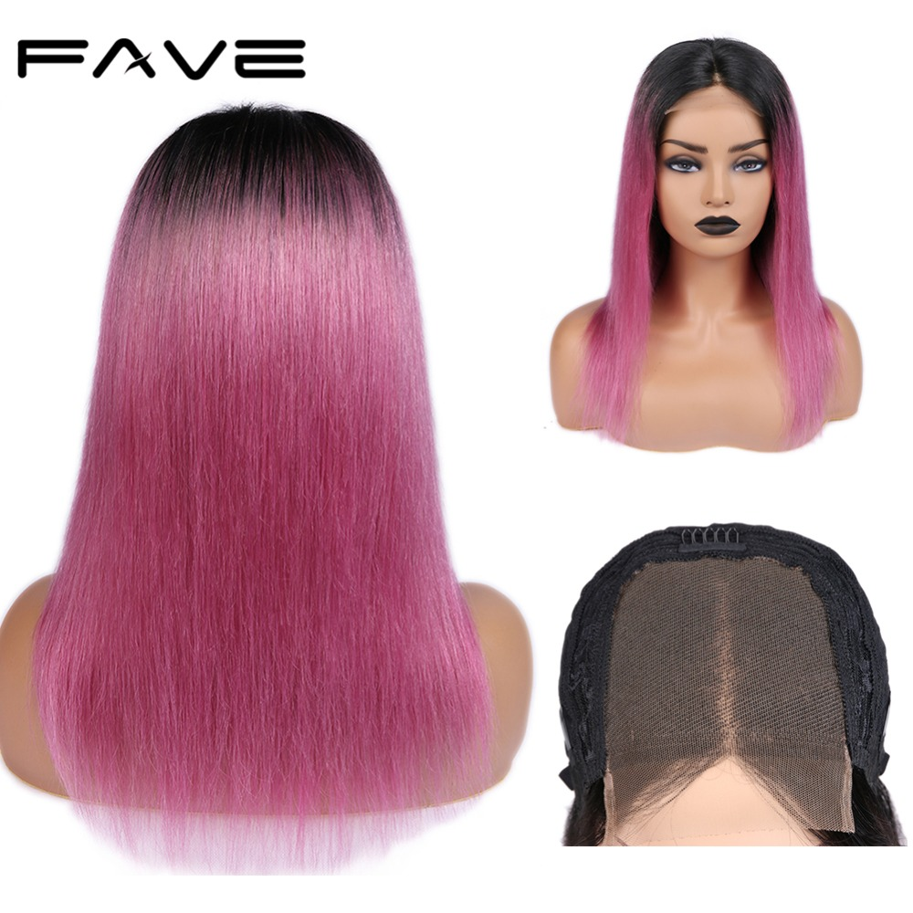4*4 Lace Closure Ombre Wigs Brazilian Remy Lace Straight Human Hair Wig Pre Plucked Natural Hairline Free Shipping FAVE Hair