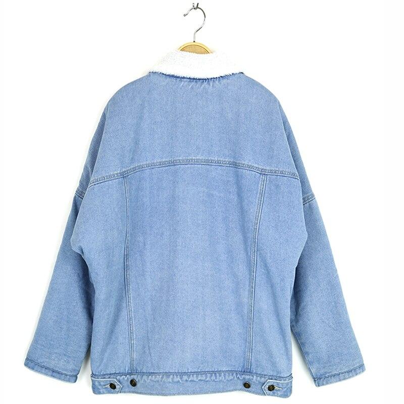 Denim Jeans Dames Long Chaud Nouveau Pour Manteaux Automne Les En 2018 Femmes Manches Laine Veste Bleu D'agneau Doublure Ciel Manteau Pu wTIZx4q