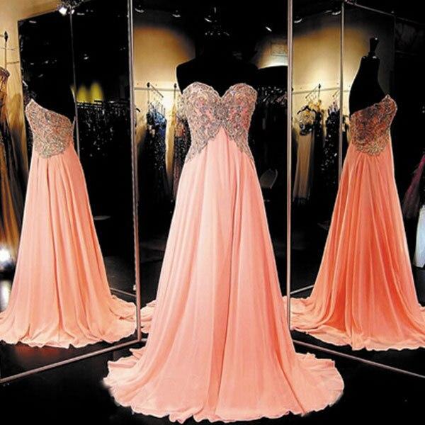 Alta Calidad Vestidos de Noche Cristalino Del Amor Del A-Line de la Blusa de Gasa Naranja Vestidos de Baile de Graduación Vestido de Imagen Real