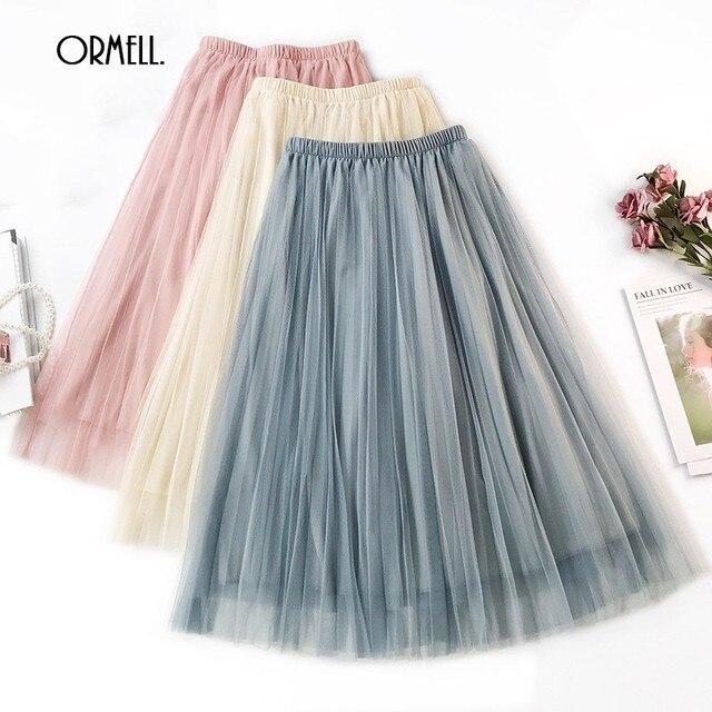 03e247a602 ORMELL New Solid Pleated Casual Tulle Skirt Womens Summer Fashion Sweet  Girls Beach Skirts High Waist Elastic Ladies Tutu Skirt