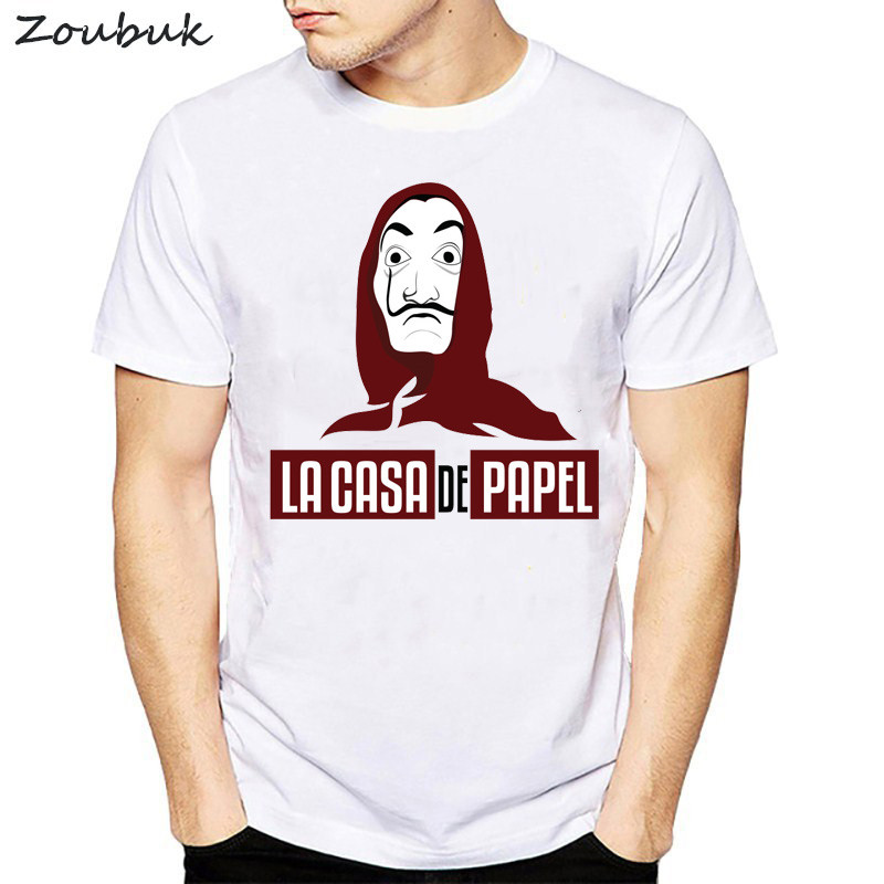 Movie Money Heist The House of Paper La Casa De Papel Print   T     shirt   men Funny dali Print tshirt mens clothing summer top