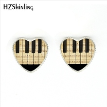 Jewelry Stud-Earrings New-Fashion Piano Heart Glass for Music-Lover HER-0027 Keyboard