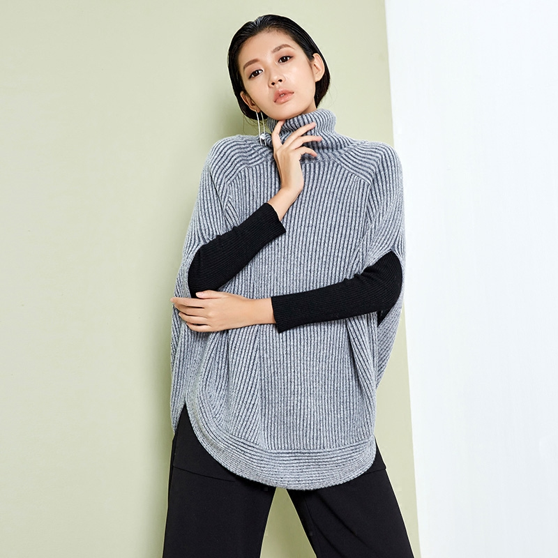 LYNETTES CHINOISERIE Spring Autumn Original Design Women Ultra Loose Batwing Sleeve Cocoon Style Pullover Merino Wool Sweater