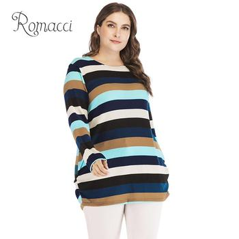 Romacci Korean Style Women Slouchy Sweater Colorful Stripes Knitted Long Pullover Plus Size Tops Multicolor Pull Oversize Femme