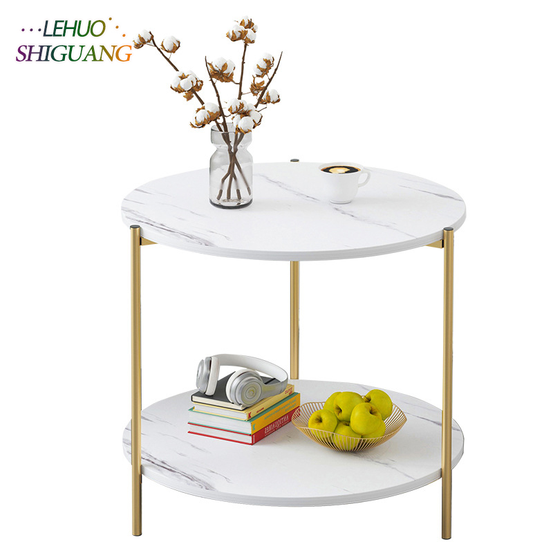 Marble Texture Wood Double Layer Square Coffee Table Living Room Sofa Side Table Table Small End Table Home Furniture