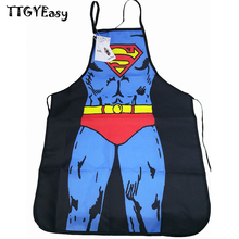 2017 new Hot Kitchen Aprons BBQ Superman Cooking Funny Novelty Party Apron For Women men Funny Sexy Superman Cooking Apron DJ078