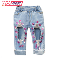 2 7Yrs Girls Hole Ripped Trousers Fashion Handwork Paillette Trousers Cute Girl Denim Jeans Beautiful Fashion
