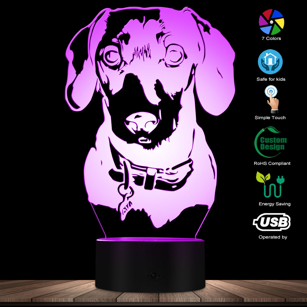 Dachshund Portrait Lighting 3D Optical Illusion Light USB Modern Night Lamp Dog Animal Glowing LED Light Home Decor Desk Lamp