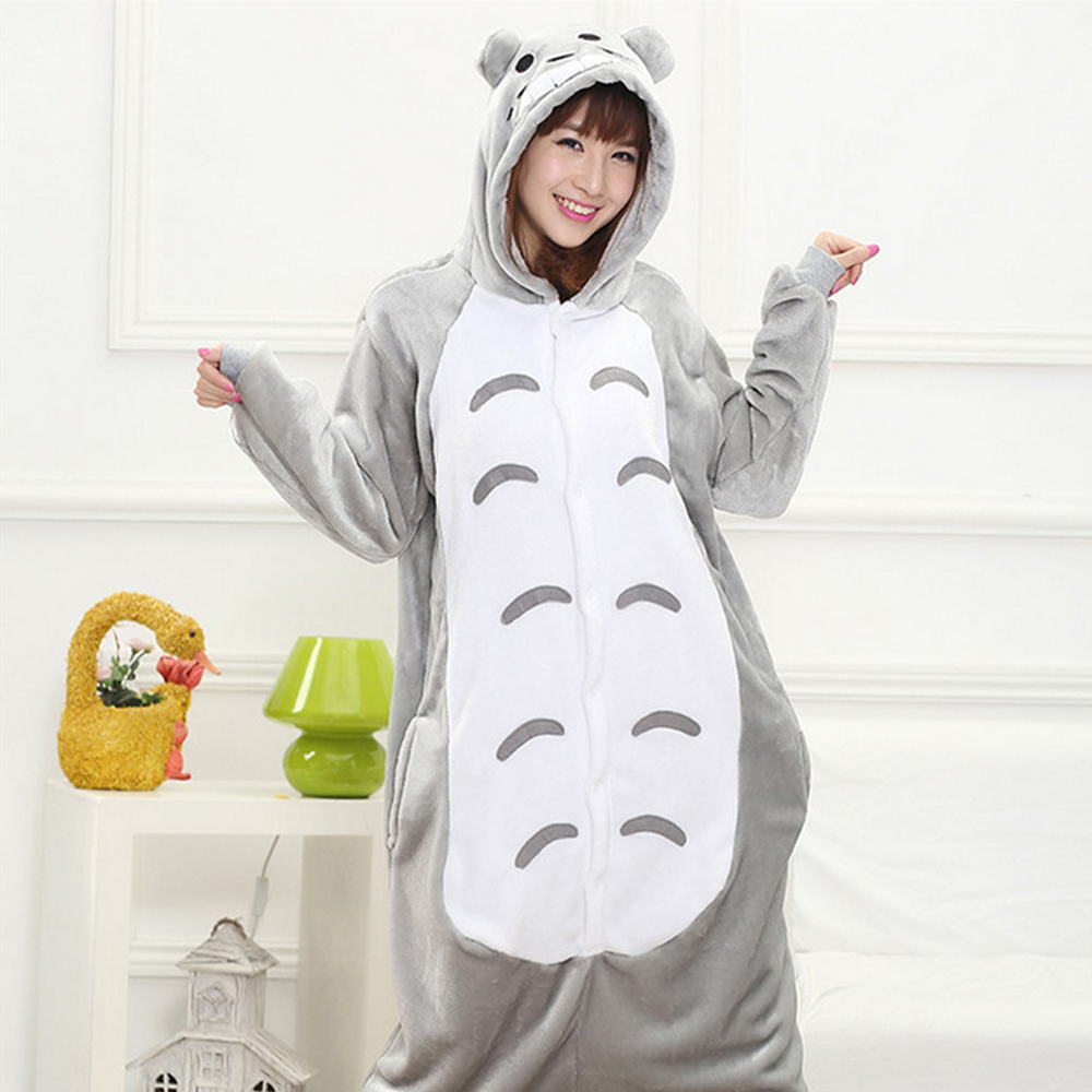 Anime Costume Sleepwear Homewear Totoro Unsiex Adult Lovers Pajamas Couples Fancy Cosplay Halloween Costume kugurumi Hoodie Gift