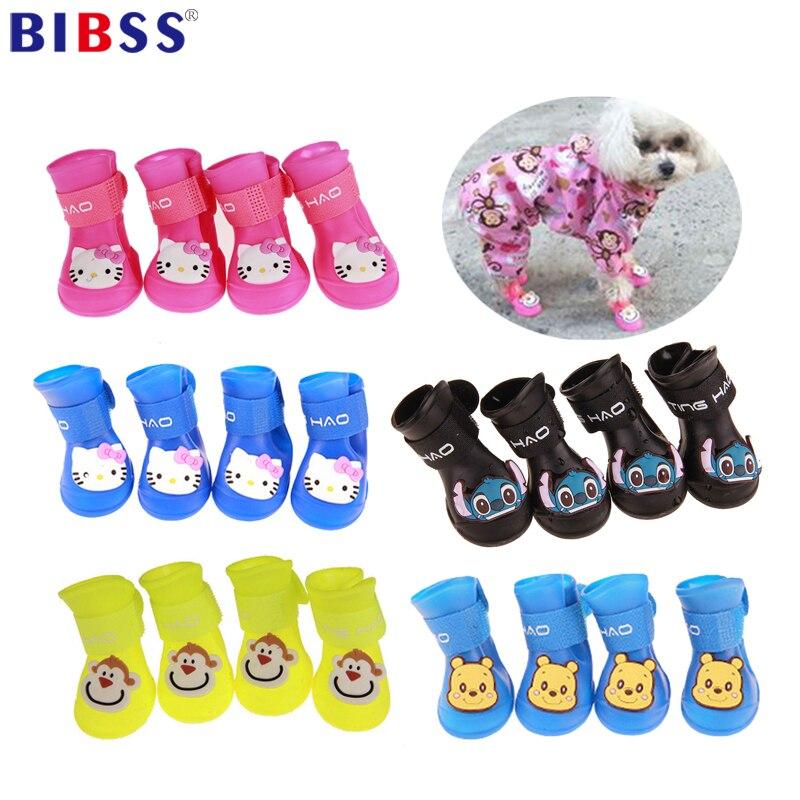 4Pcs Pet Dog Shoes  Waterproof Dog Rain Boots Summer Pet Shoes for Dog Puppy Rubber Shoes Anti Slip Cat Shoes Собака