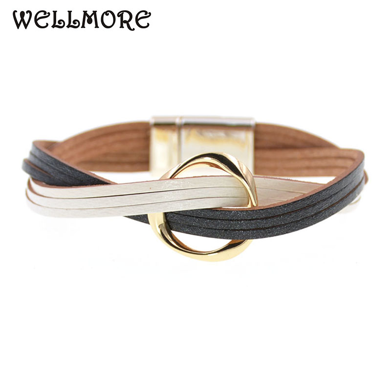 WELLMORE 18 Colors charm Leather Bracelets For Women & Men Multiple Layers wrap Bracelets Couple gifts fashion Jewelry wholesale