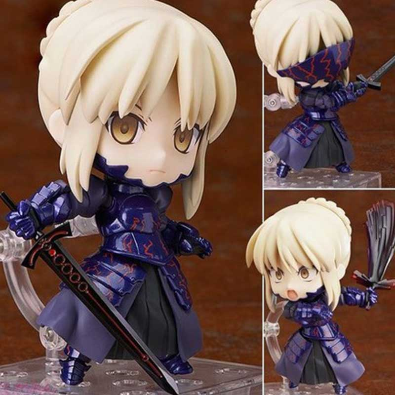 Japan Fate Stay Night Zero Black Saber Alter Cute Nendoroid Vodigan Ver. 10CM Mask Hammer Sword Toys Cartoon PVC Action Figure fate stay night fate extra red saber pvc figure toy anime collection new