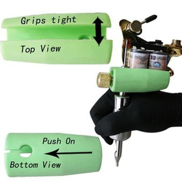 3PCS Anti Shock Tattoo Machine Gun Grip Cover Holder Green Silicone Quakeproof Tattoo Grip Protection Pad Covers FREE SHIPPING