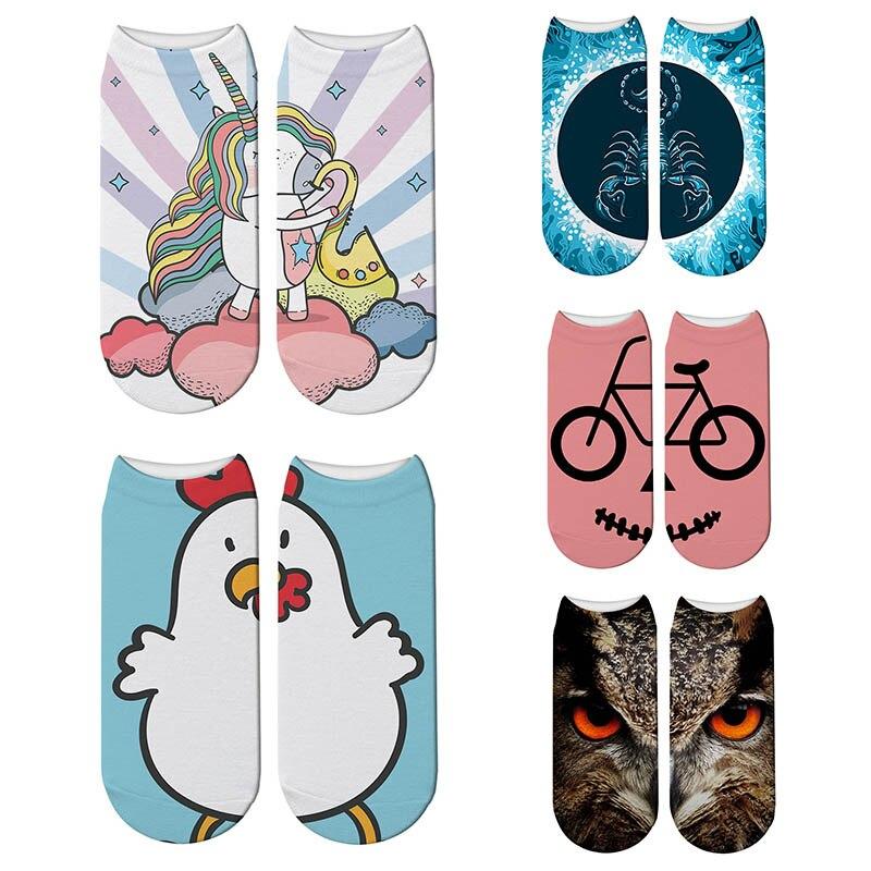 3d Tiere Leopard Print Socken Tier Digitaldruck Nette Baumwolle Socken Kawaii Unisex Kinder Frauen Niedrigen Knöchel Socken
