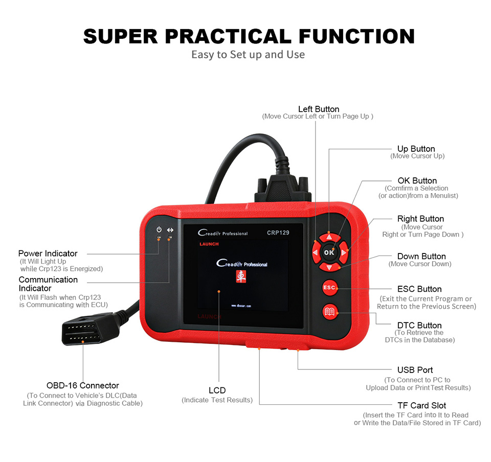 Image 4 - Launch X431 Creader CRP129 Auto Code Reader OBD2 Scanner OBDII Automotive Diagnostic Tool Machine Creader VIII 8 ABS SRS Tools-in Code Readers & Scan Tools from Automobiles & Motorcycles