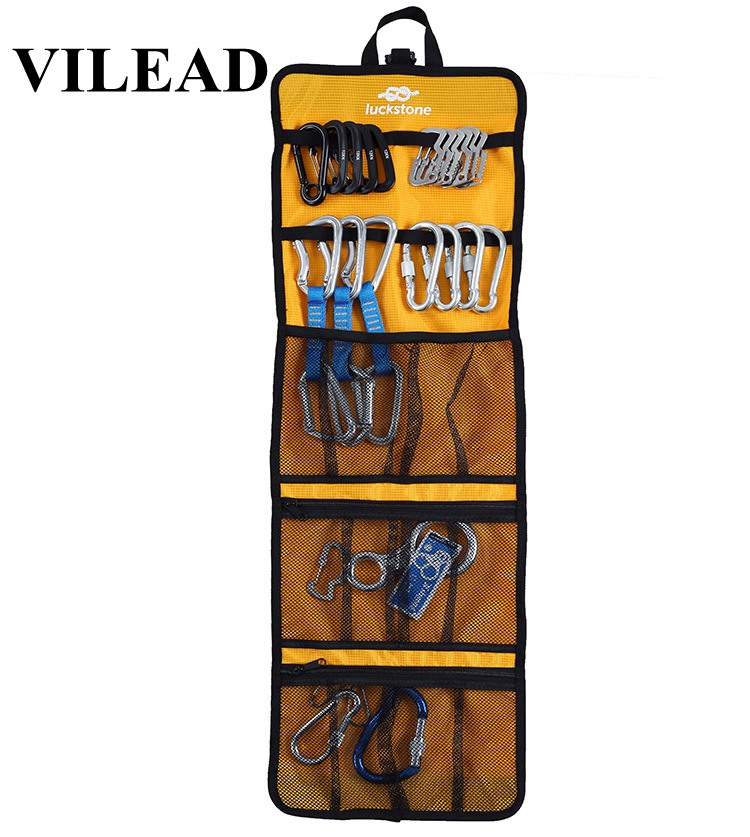 VILEAD 5 Colors Foldable Bag Carabiner Quickdraw Rope Hook Collection Climbing Equipment Waterproof Rolling Hanging Gear Carry