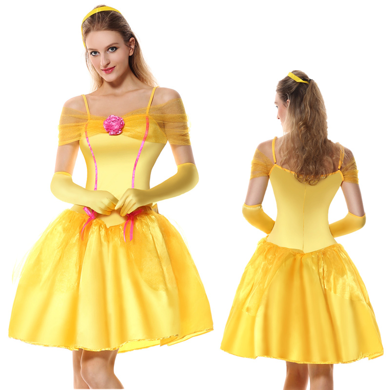 Movie Beauty and the Beast fancy short dress shoulderless adult yellow cosplay Beauty Beast Belle princess costumes Party Dress