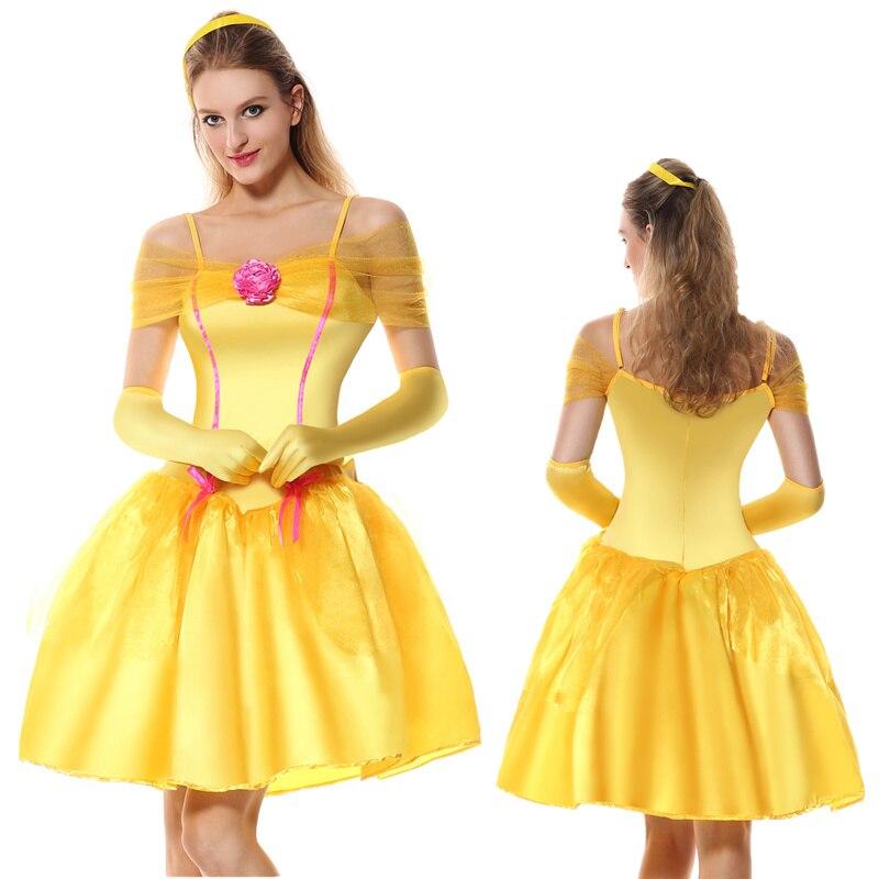 映画美女と野獣ファンシーショートドレス shoulderless 大人黄色コスプレ美容獣ベル王女の衣装パーティードレス