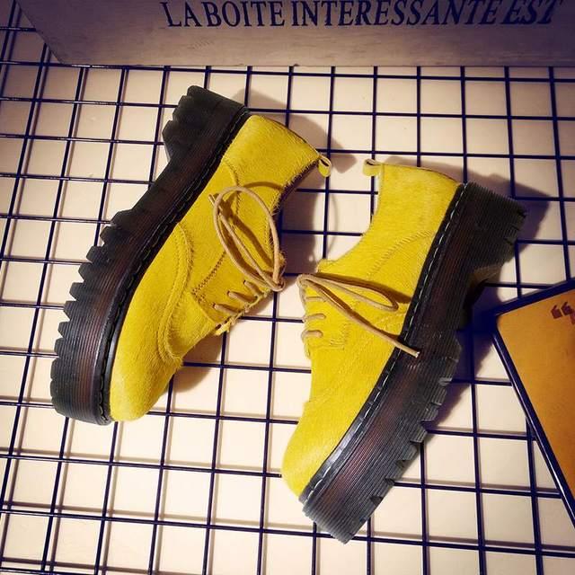 Amarillo de la manera de las mujeres zapatos de marca impermeable wedgesl as señora del pelo del caballo del cuero genuino punta redonda aumento plataforma shoe3-1