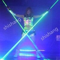 H0815 ручной лазерный меч шоу на сцене Танцы вечерние диско диджей лазерный свет костюмы бальных танцев носит зеленый бар робот человек проек