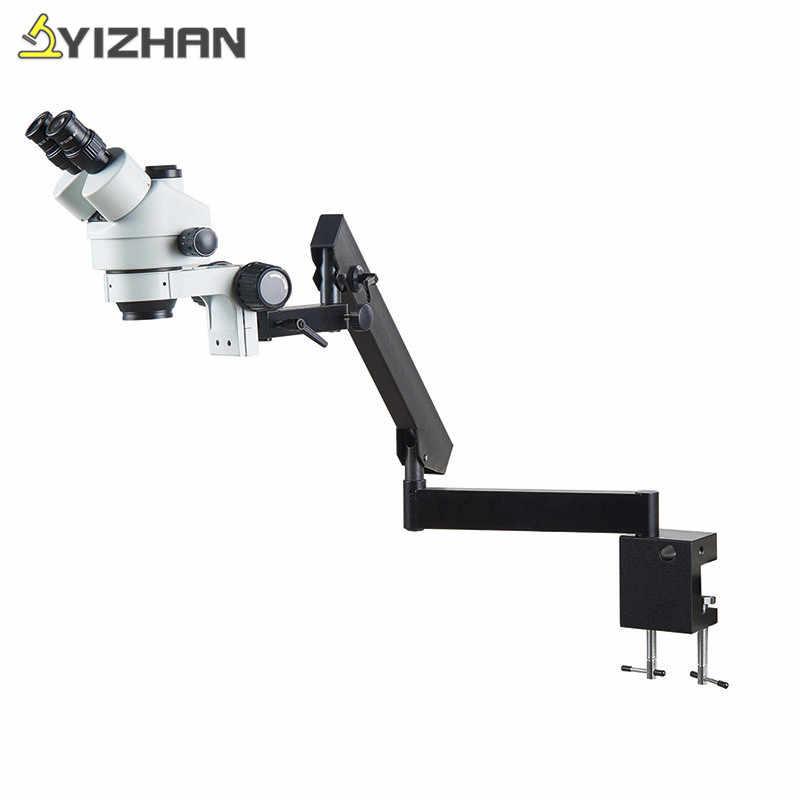 Simul-focal 7X-45X Microscope stéréo trinoculaire bras articulé pince Microscope objectif lentille 56 lumière pour soudure biologie