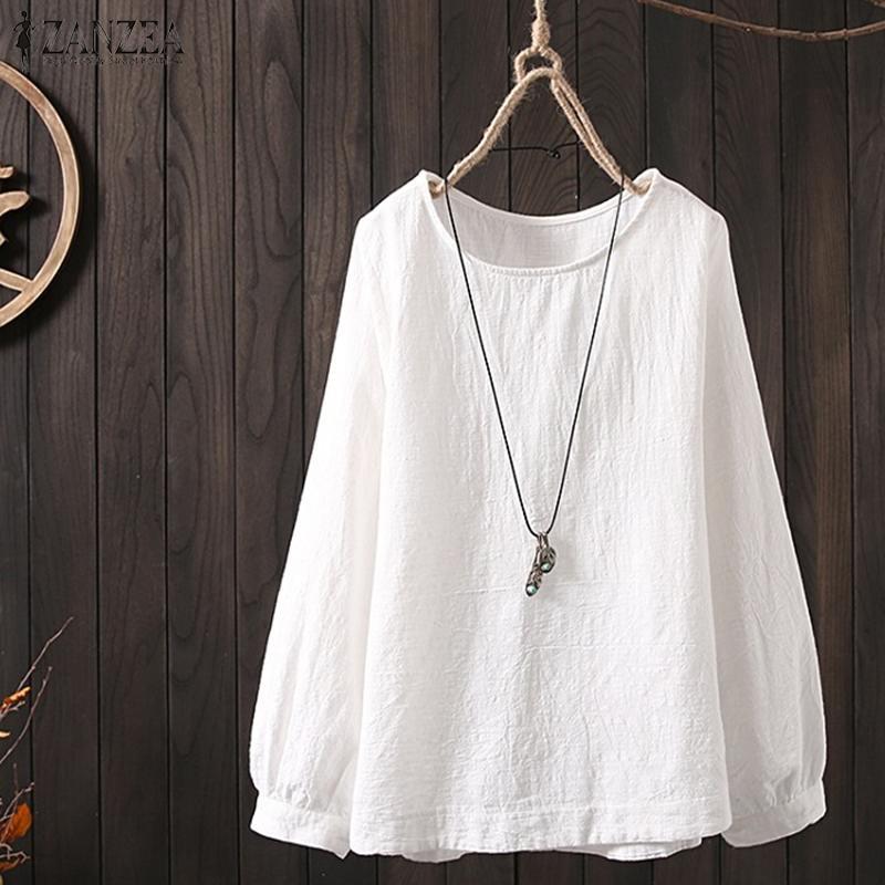 Stylish Women Long Sleeve Blouse ZANZEA Spring Solid Cotton Linen Tops 2020 Female O Neck Loose Casual Shirt Vintage Blusas 5XL