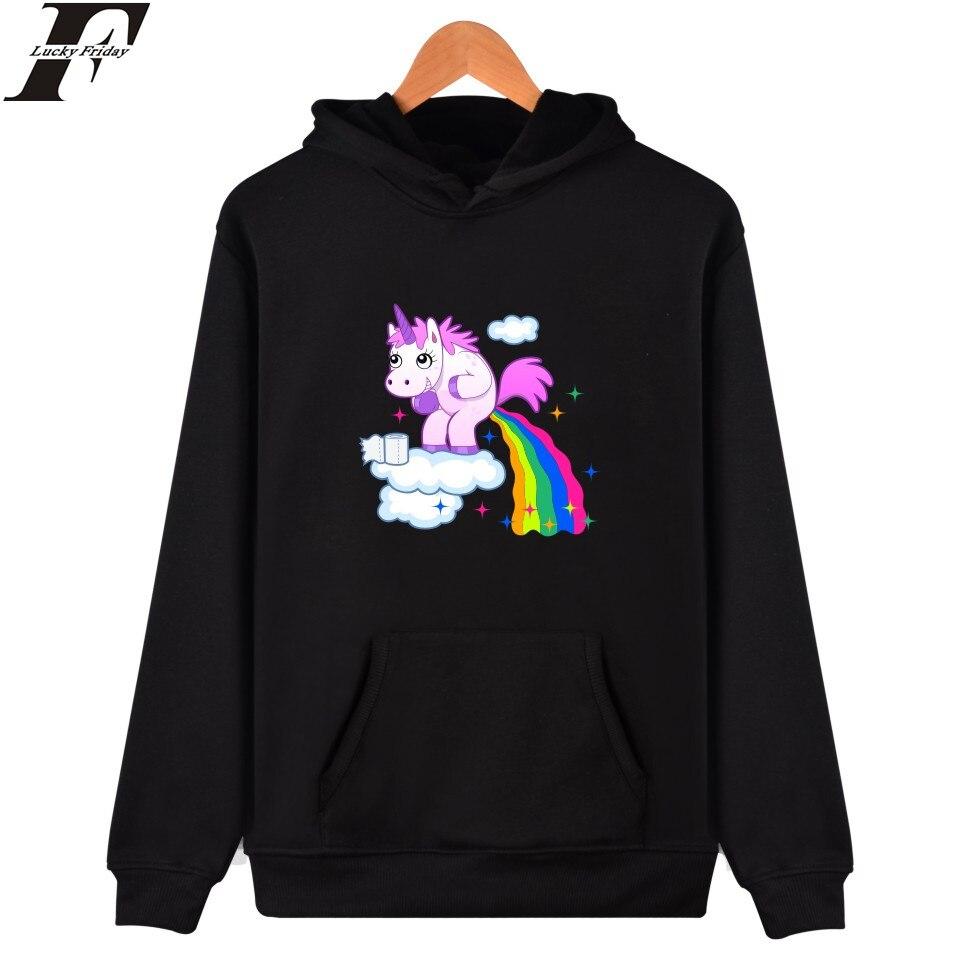 LUCKYFRIDAYF Unicorn Hoodie Sweatshirt Funny Cute Cartoon Print Pullover Plus Hoodies Men Hip Hop Streetwear Casual Boys