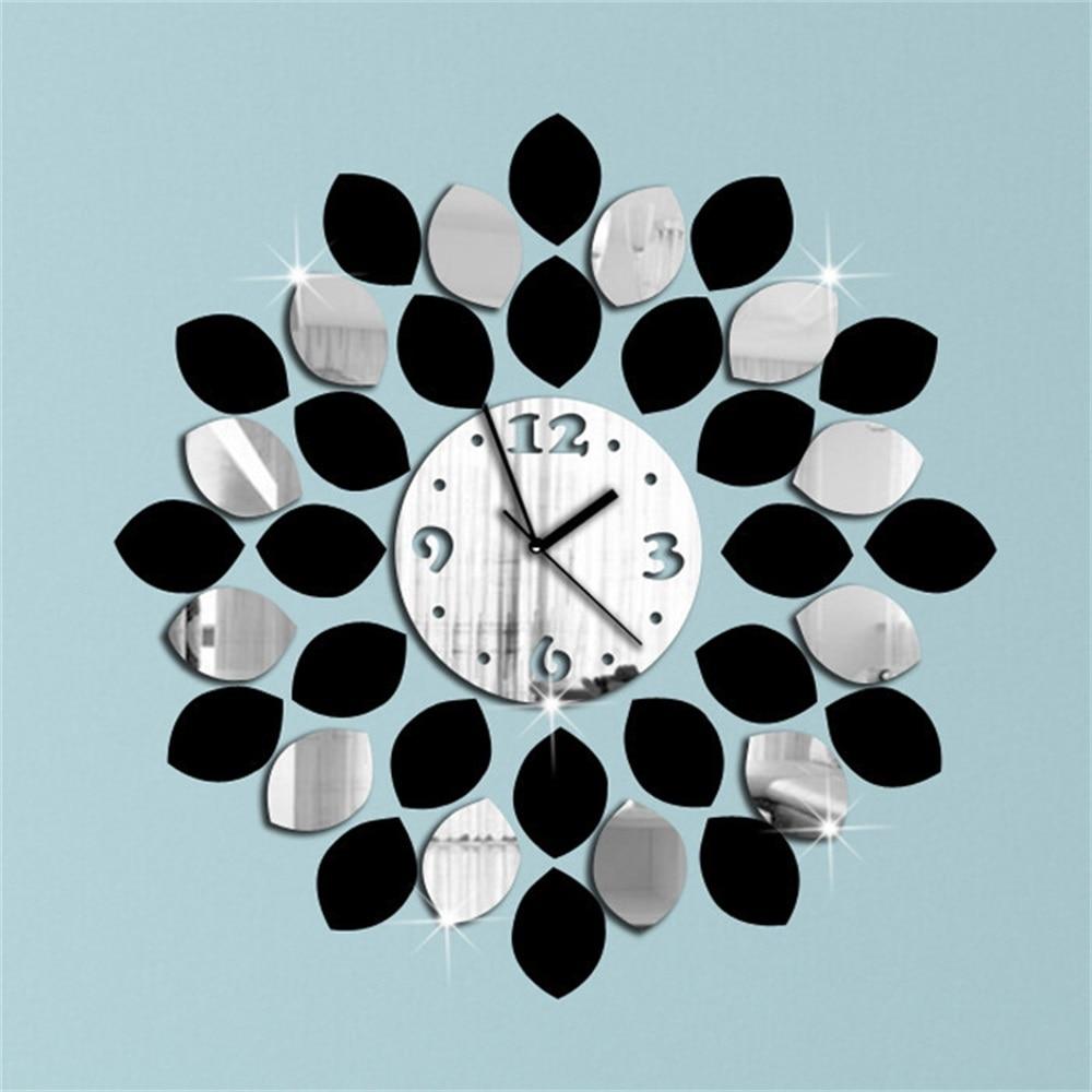 36Pcs Big Leaf Black And Silver Art Mordern Luxury Design DIY 3D Crystal Mirror Wall Clock Wall Sticker Living Room Decoration
