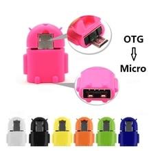 Mini Robot Shape Android Micro USB To USB 2.0 Converter USB OTG  PC for Samsung Galaxy S3 S4 S5 Xiaomi Earphone Accessories стоимость
