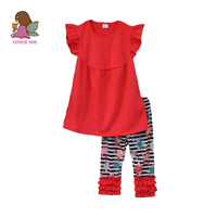 Big Promotion Summer Style Girls Boutique Clothing Set Red Top Print Striped Ruffle Pants Remake Children