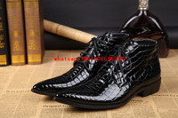 Zobairou Autumn Winter Boots Black Genuine Leather Punk Shoes Crocodile Skin Chelsea Boots Men Cowboy Military Boots Work Shoes