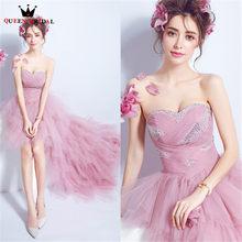 QUEEN BRIDAL Evening Dresses High Low Ruffle Organza Beaded Short Luxury Pink  Party Prom Dress Gowns 2018 Vestido De Festa JW63 16a141128d71