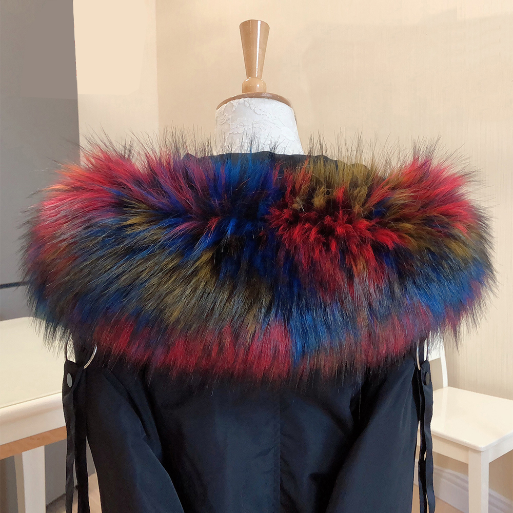New Faux Raccoon Fur Collar Scarf Winter Clothes Hood Fur Decor Shawl Multicolor Fake Fur Scarf Winter Men Coat Fur Collar