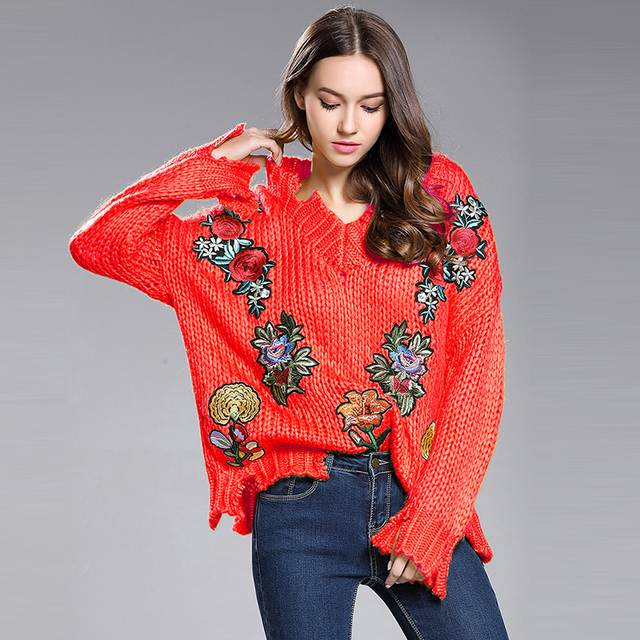 68f9673a44f8 Red White Yellow Color V Neck Floral Embroidery Loose Knitted Sweaters 2018  Fall Women New Sweaters Embroidery Tear Of Pullovers