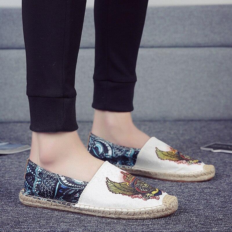 Printemps nouvelles chaussures de paille pour hommes corde de chanvre une pédale chaussures paresseux respirant décontracté toile chaussures de pêcheur chaussures en lin