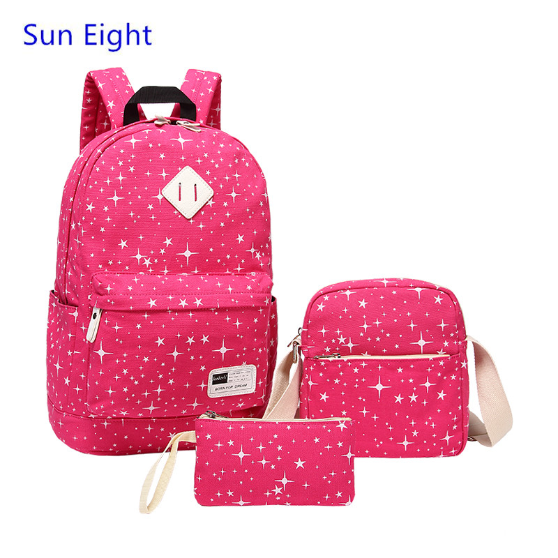 Sun Eight red star Canvas Printing Backpack font b bag b font Women School font b