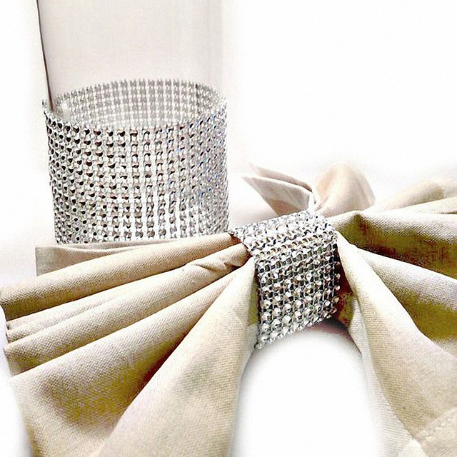 20pcs wedding decoration DIY Bling Elegant silver Napkin Rings Adjustable  diamond mesh Napkin Holders Anniversary Party 55f43765e16b