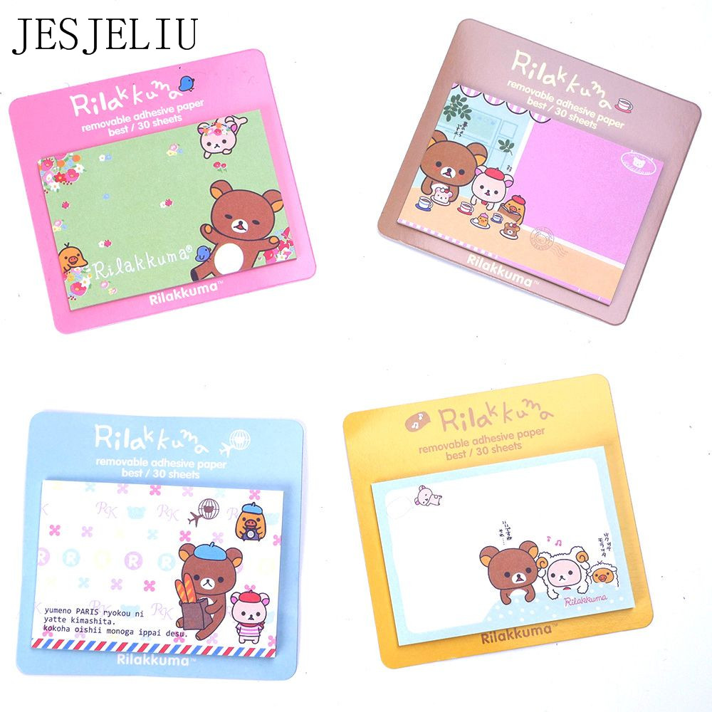 1pcs/lot NEW Rilakkuma Notepad Message Post Removable Adhesive Paper Memo Pad Sticky Notes Escolar Papelaria