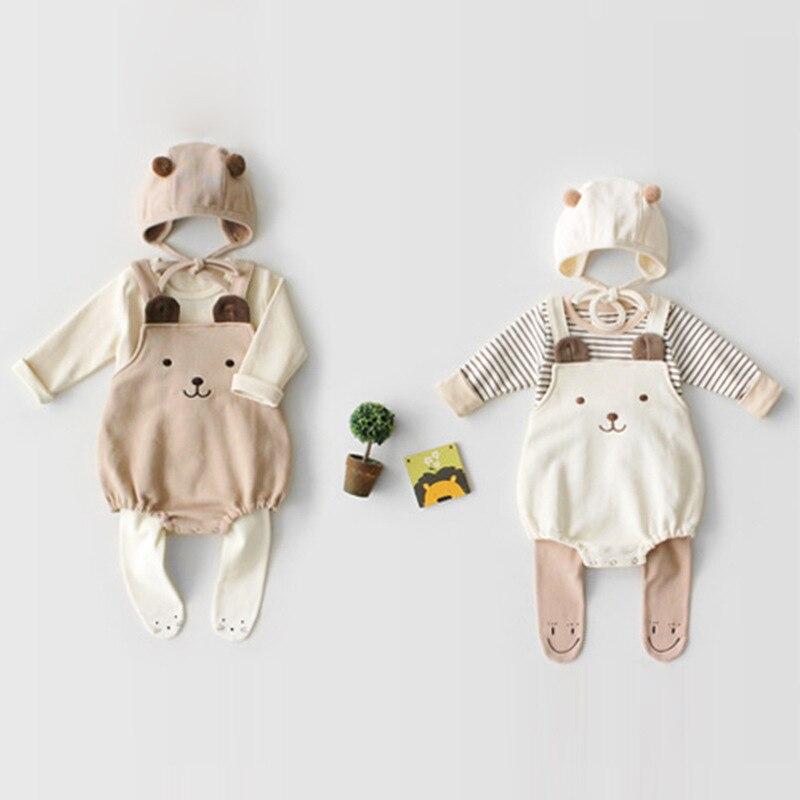 Image 2 - Odzież niemowlęca zestaw wiosna jesień dziecięcy pajacyk bawełniany + kapelusz dla dzieci dwa kawałki garnitury dla niemowląt odzież garniturKombinezonyMatka i dzieci -