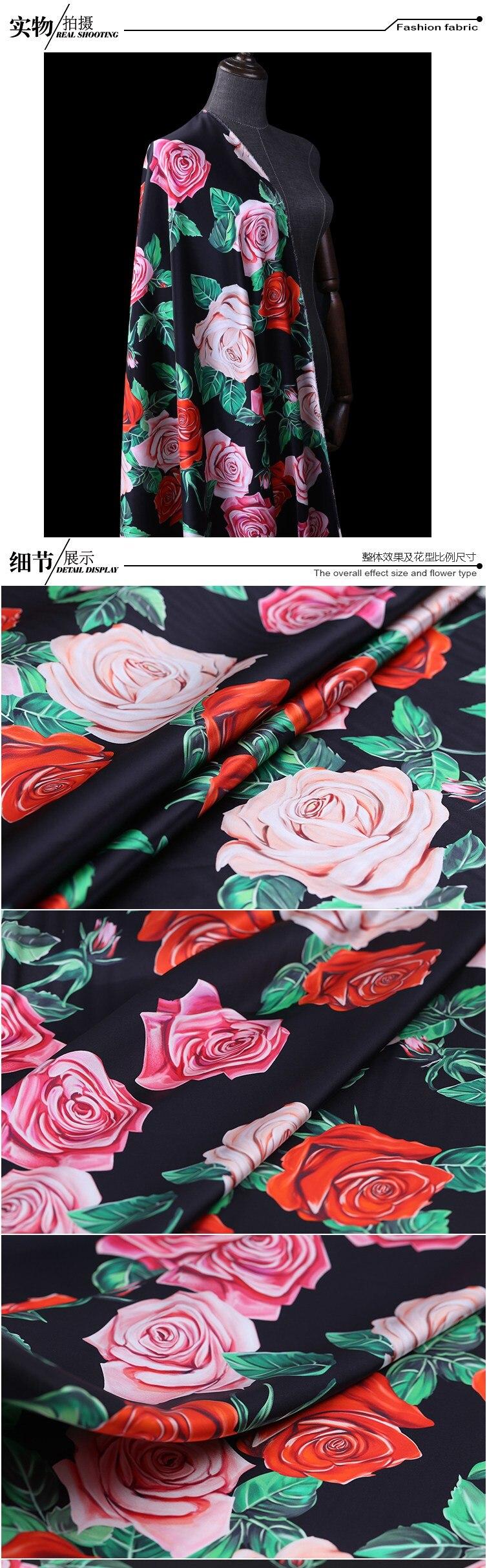 tecido de cetim vestido de cheongsam subiu tecido de seda atacado pano