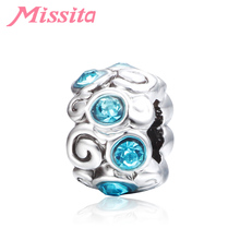 MISSITA Fashion Romantic Blue Crystal Charms fit Pandora Bracelets & Necklaces for Jewelry Making Ladies Accessories