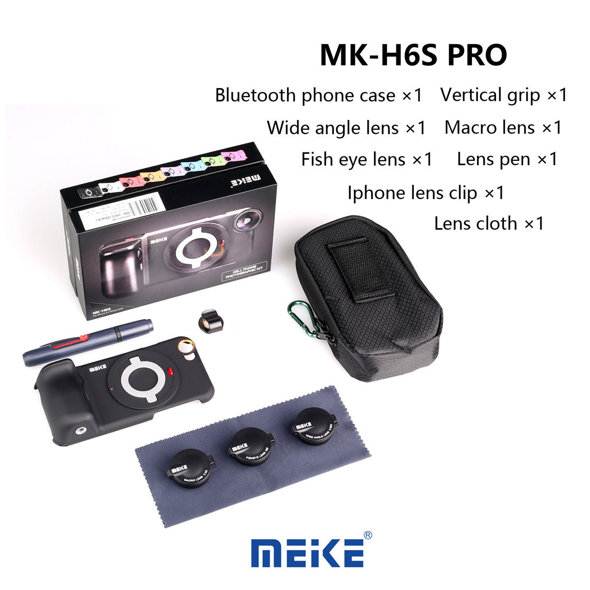MK-H6S Pro 3in1 Bluetooth phone wide angle lens+fisheye lens+macro lens+case for iphone 6/6s Cell phone Sony ILCE-QX1 led fill in flash light wide angle macro lens for smartphone white