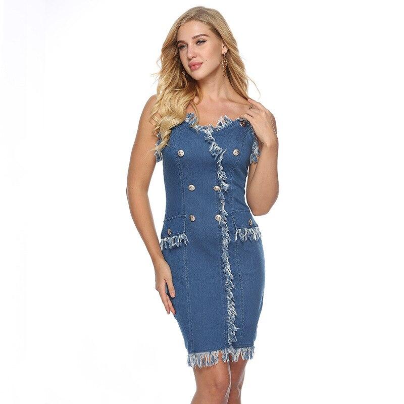 7b054333ae7 платье летнее женское платья больших размеров одежда для женщин джинсовый  сарафан женский летний джинсовое платье бандажное