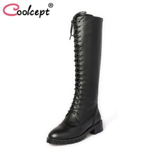 Coolcept Туфли без каблуков каблук Для женщин сапоги из натуральной кожи зимние сапоги до колена Дамская обувь на молнии женская обувь размеры 33–42