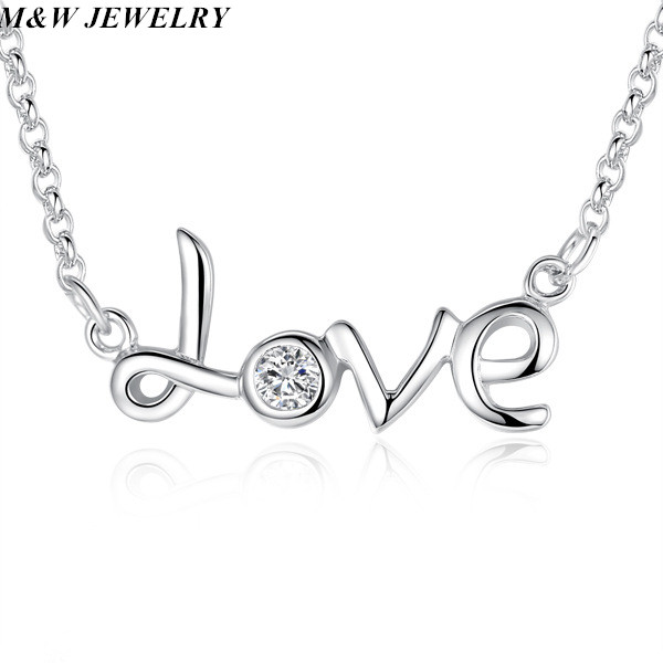 M&W JEWELRY Hot Clavicle Women Necklace LOVE Letter Pendant Temperament Necklaces Chain Daily Life Fashion Jewelry Minimalist